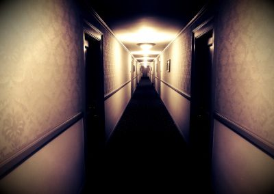 Spooky hallway at night at the Stanley Hotel—Estes Park, Colorado, 2015