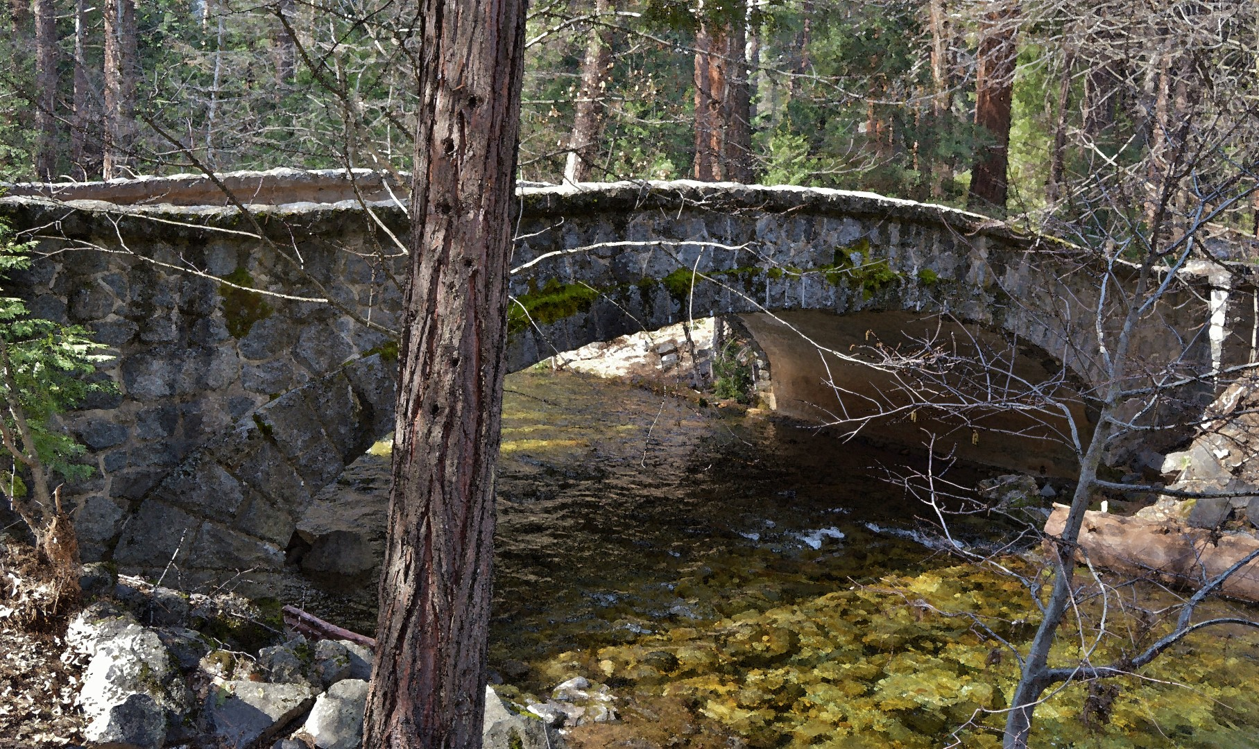 Stone bridge inside Yosemite Valley, 2019